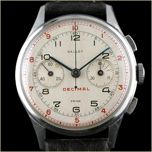 Gallet Chronograph Watch Multichron Decimal Chronograph