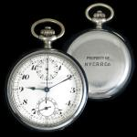 NYCRR Pocket Chronograph (1916) - pocket watch with timer manufactured by Gallet for rail road conductors and engineers of the New York Central Rail Road.
